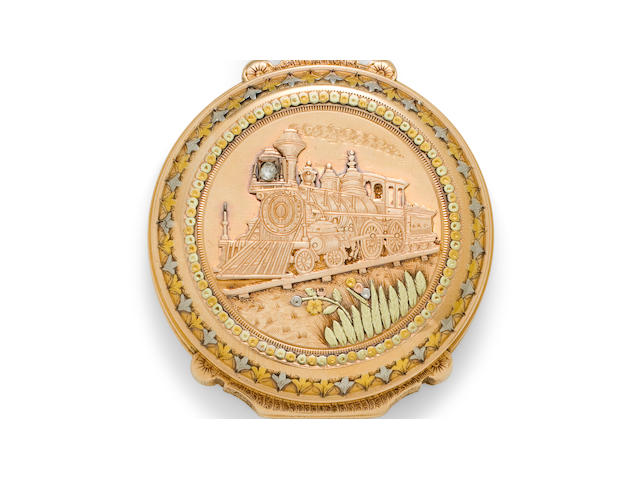Waltham. An 18K multi colored gold box hinge hunter cased watchAppleton, Tracy & Co., No. 2034071