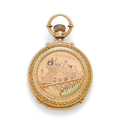 Waltham. An 18K multi colored gold box hinge hunter cased watchAppleton, Tracy & Co., No. 2034071
