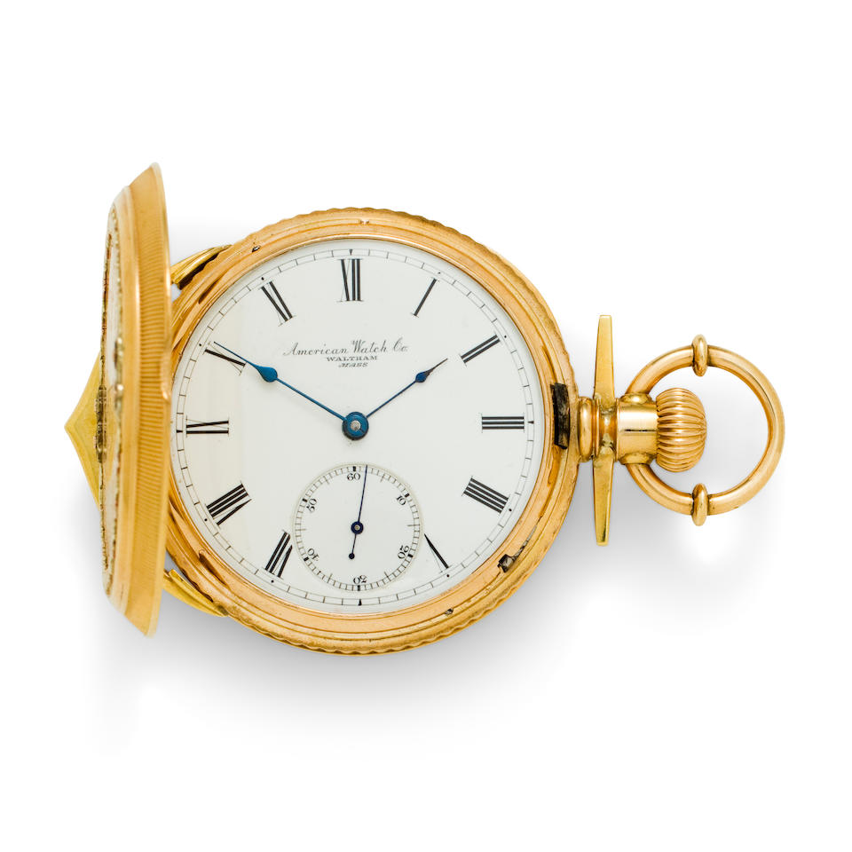 Waltham. A very fine and rare 18K multi color gold hunter case presentation watchSigned Am'n Watch Co., Movement No. 871864, the case by American Watch Case, Co., inscribed 1877