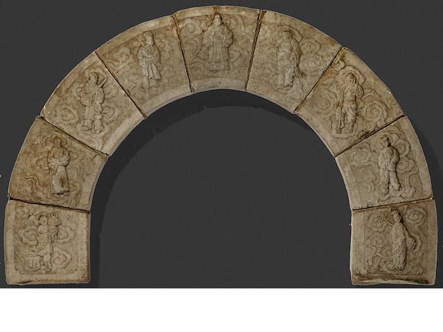 A nine-sectioned carved stone arch 17th/18th century