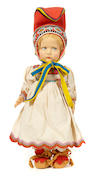 A Lenci felt girl doll in traditional Sami costume