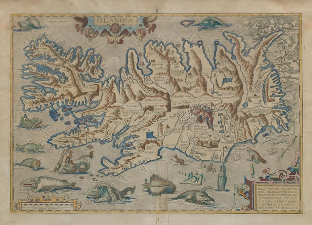 ORTELIUS, ABRAHAM. 1527-1598. Islandia. [Antwerp]: Ortelius, 1585 [or later].