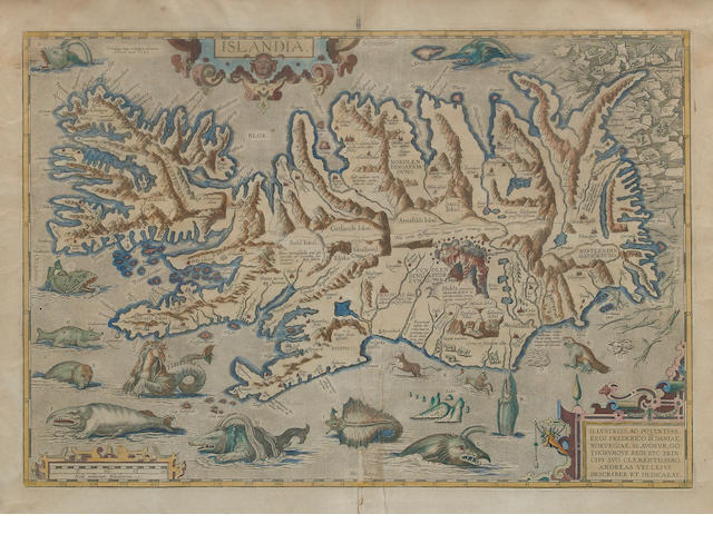 ORTELIUS, ABRAHAM. Islandia. [Antwerp]: Ortelius, 1585[or later].