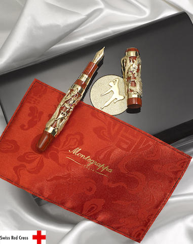 MONTEGRAPPA: The Dragon 2010 Bruce Lee 18K Yellow Gold Limited Edition 88 Fountain Pen