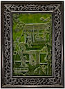 A pair of framed spinach jade landscape plaques 20th century