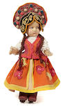 A Lenci felt girl doll in traditional Russian costume