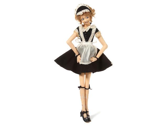 "A Lenci Boudoir doll in a houskeeper's uniform.  25"""
