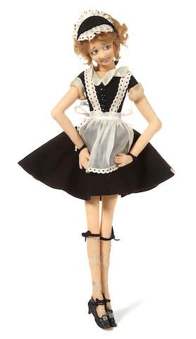 A Lenci felt boudoir doll of a maid