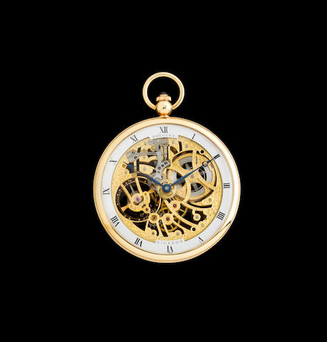 Breguet. A fine 18K gold skeletonized pocket watchRef:BA1710, no. 1871, retailed by Dickson Watch & Jewellery, Singapore, sold 1981