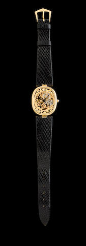 Patek Philippe. A fine 18K gold skeletonized wristwatchRef: 3880, Movement No.1389390, 1980's