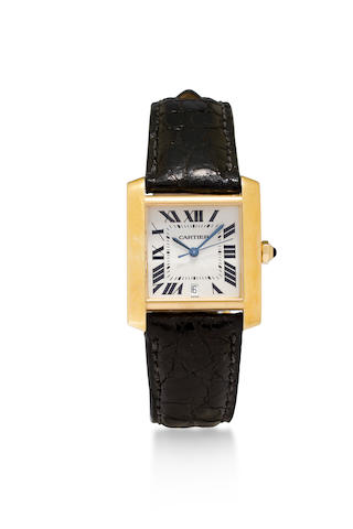 Cartier. An 18K gold automatic wristwatch with center seconds and dateTank Française, Ref:1840, Case No.MG245599