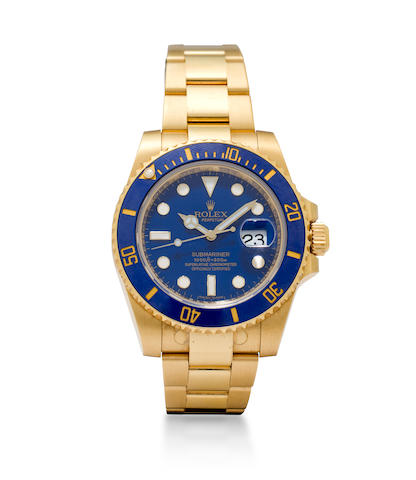 Rolex. A fine 18K gold automatic center seconds diver's watch and braceletSubmariner, Ref:116618, Case No.V527578