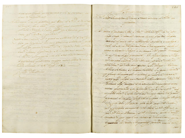 """BARBERINI & LODOVICO LUDOVISI, CARDINALS. Italian manuscript on paper, entitled """"Diverse Instrucio[ni] di Nunciatu[ure],"""" being a book of instructions to Papal Nuncios. [Italy, likely Rome, February 9, 1621-July 8, 1623.]<BR />"""