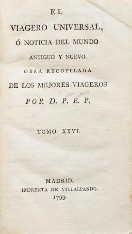 ESTALA, PEDRO. 1757-1810. El viagero universal, o noticia del mundo antiguo y nuevo ... Tomo XXVI. Madrid: Villalpando, 1799.