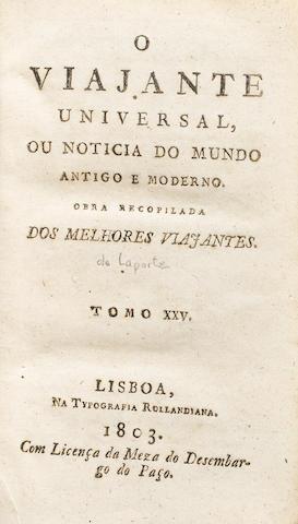 ESTALA, PEDRO. 1757-1810. LAPORTE, JOSEPH DE. O viajante universal, ou noticia do mundo antigo e moderno. Tomo XXV. Lisbon: Typografia Rollandiana, 1803.