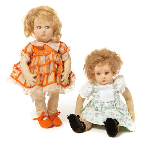 A pair of Lenci felt girl dolls