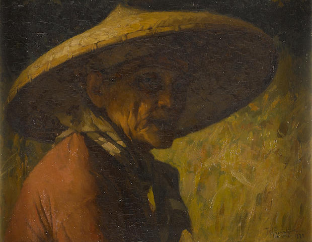 Fernando Amorsolo Y Cueto (1892-1972) Portrait of a Man in a Straw Hat