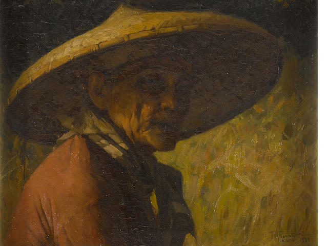 Fernando Amorsolo Y Cueto (1892-1972) Portrait of a Man in a Straw Hat, dated 1928