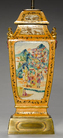 A polychrome enameled export porcelain rectangular sectioned vase and cover 19th century