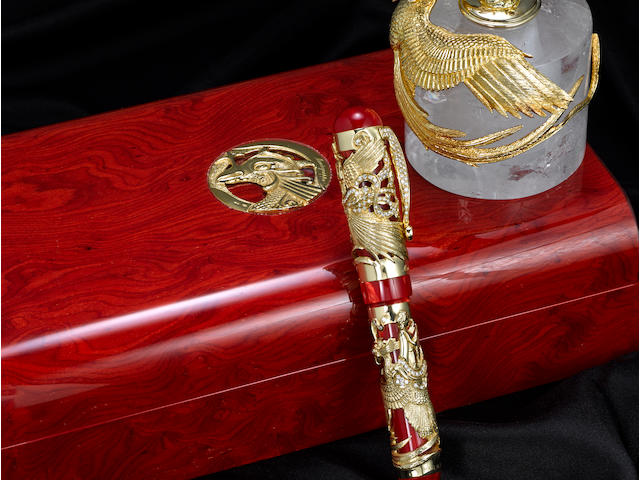 MONTEGRAPPA: Eternal Bird 18K Solid Yellow Gold & Diamonds Limited Edition 10 Fountain Pen & Inkwell *ARTIST'S PROOF*
