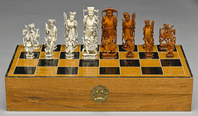 An ivory chess set