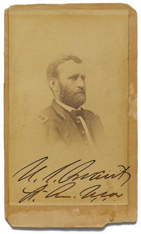 """GRANT, ULYSSES S. 1822-1885. Photograph Signed (""""U.S. Grant / Lt. Gen U.S.A.""""), albumen print carte-de-visite portrait in uniform by Matthew Brady,"""
