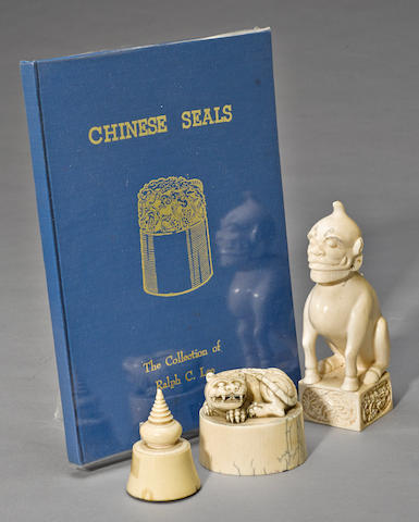 Three large ivory seals Late Qing/Republic period