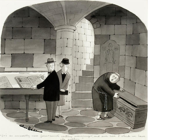 "ADDAMS, CHARLES. 1912-1988. Original ink and wash cartoon, signed (""Chas Addams"") lower left, and captioned"