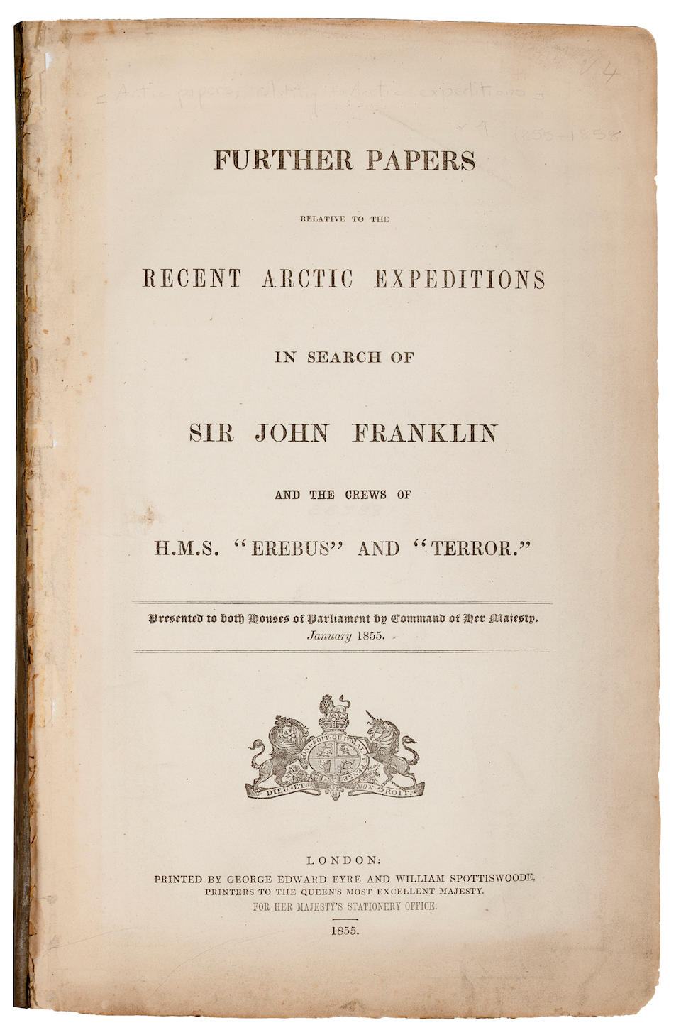 ARCTIC BLUE BOOKS. Extensive collection of 19th-century British Parliamentary papers relating to Arctic exploration.