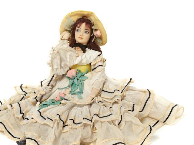 A rare Lenci felt long-limbed portrait doll of Spanish actress Raquel Meller