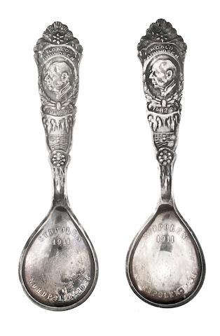 [AMUNDSEN, ROALD. 1872-1928.] Pair of Norwegian silver spoons, c.1928,