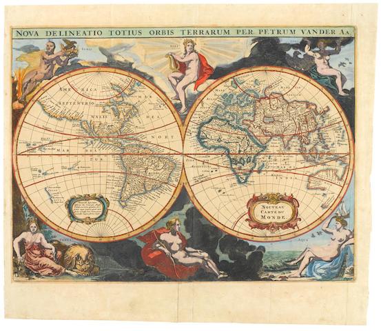 VAN DER AA, PIETER. 1659-1733. Nova Delineatio Totius Orbis Terrarum. [Leiden: Van Der Aa, 1703.]
