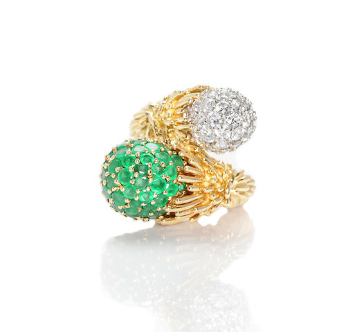 An emerald and diamond bypass ring, Kutchinsky