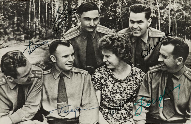 COSMONAUTS. Photograph Signed by 6 Soviet Cosmonauts, gelatin silver print, 5 by 7 ¼ inches, c 1964, very good.