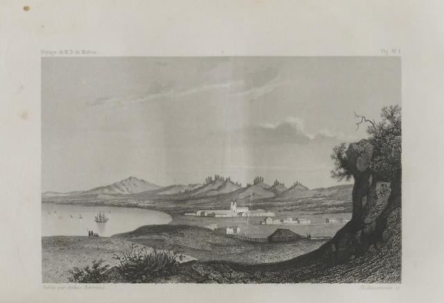 DUFLOT DE MOFRAS, EUGENE. 1810-1884. Exploration du territoire de l'Oregon, des Californies et de la Mer Vermeille exécutée pendant les années 1840, 1841 et 1842. Paris: Arthus Bertrand, 1844.