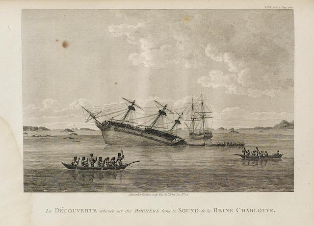 VANCOUVER, GEORGE. 1757-1798. Voyage de découvertes, à l'Océan Pacifique du nord, et autour du monde.... Paris: de l'imprimerie de la Republique, An VIII [1800].<BR />