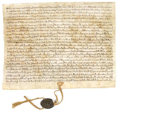 MEDIEVAL LAND GRANT CHARTER. Latin manuscript on vellum. Lincolnshire, England, ca.1250.
