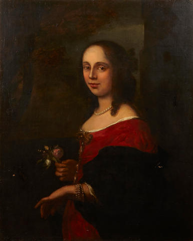 English School A portrait of a young woman, half-length 33 3/4 x 27 1/4in