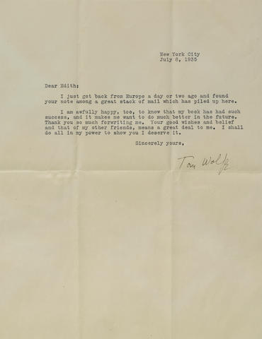 "WOLFE, THOMAS. 1900-1938. Typed Letter Signed (""Tom Wolfe""), 1 p, 4to, New York City, July 8, 1935, to Edith Simpson,"