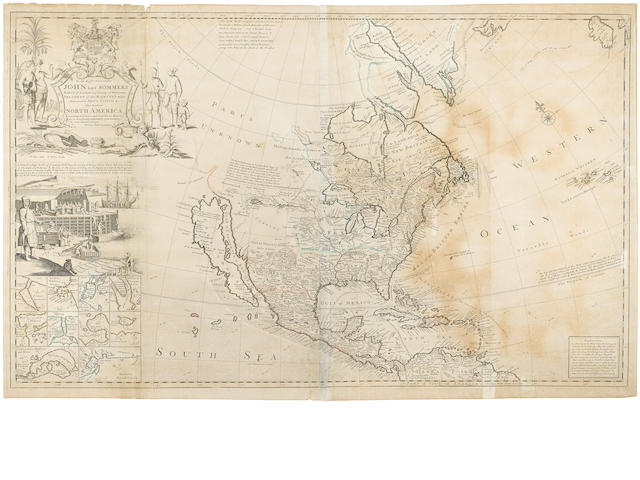 MOLL, HERMANN. 1654-1732. To The Right Honorable John Lord Sommers ... This Map of North America According To Ye Newest and Most Exact Observations.... London: ca.1720.