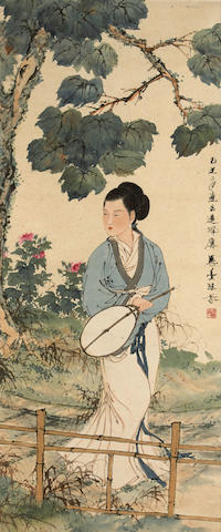 Deng Fen (1894-1964) Beauty Holding a Fan