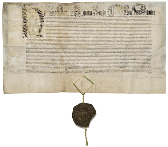 "HENRY VIII. 1491-1597. Manuscript document, 468 x 835 mm, Walden, October 10, 1540, granting to Edmund Peckham of Denham, Buckinghamshire, nearby parcels of land formerly belonging to Westminster Abbey (""Monastery of St. Peter Westminster""),"