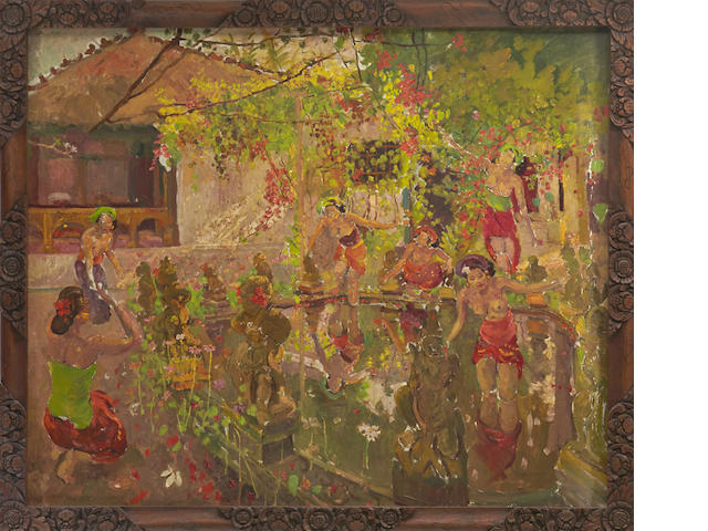 Adrien Jean Le Mayeur de Merprés<BR /> Oil on canvas in original teak frame<BR /> The Lotus Pond <BR /> circa 1950-1955