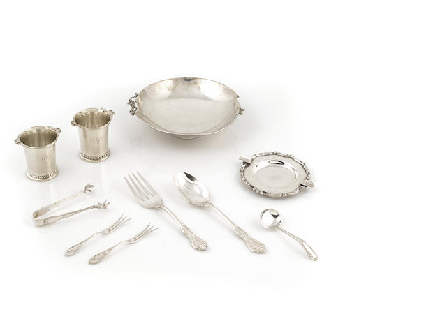 A group of American and Mexican sterling silver flatware and hollowware