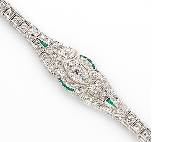 An art deco diamond and emerald bracelet,