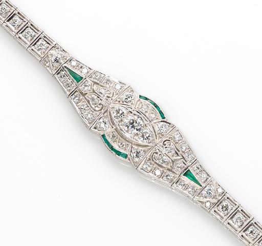 An art deco diamond and emerald bracelet,