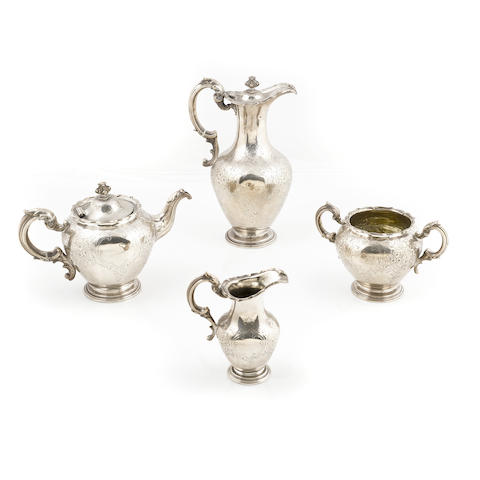 A Scottish Victorian  sterling silver  four piece part tea service by A.G. Whighton, Edinburgh,  1841
