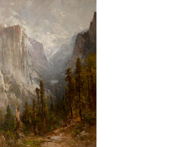 Thomas Hill (American, 1829-1908) El Capitan with Clouds Rest beyond, Yosemite, 1901 54 1/4 x 36in
