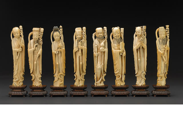 A set of carved ivory figures of the Eight Immortals Late Qing/Republic period