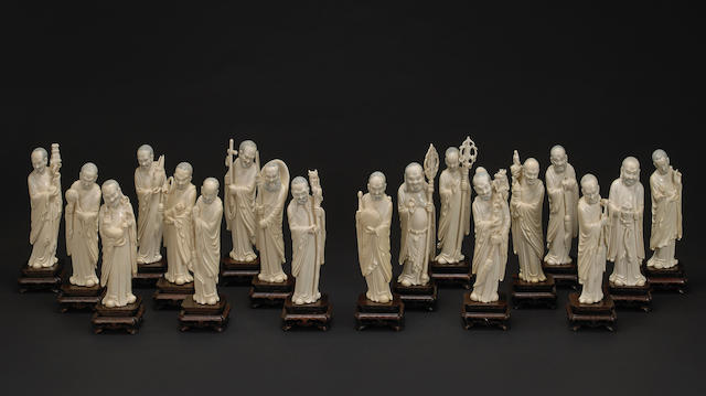 affidavit rec'd: A carved ivory set of the eighteen Luohan